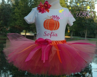 Pumpkin 1st Birthday Girl Outfit, One Year Old Girls Outfit, Personalized,Fall Baby Girl Pumpkin Tutu Outfit, Can Add Birthday Age
