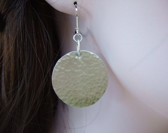 Larger Sterling Silver Disc Earrings