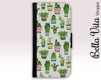 Cactus iPhone 6 Plus Wallet Case, iPhone Wallet Case, Leather, iPhone 6S Plus Wallet Case, iPhone Case Cactus Pots Succulents I6PW I6P