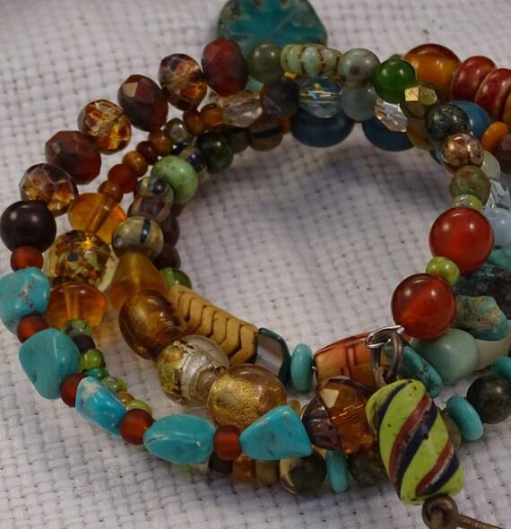 Memory Wire bracelet Bohemian Medley - unique multi color turquoise stoneware bone carnelian trade bead snake bead Czech glass OOAK