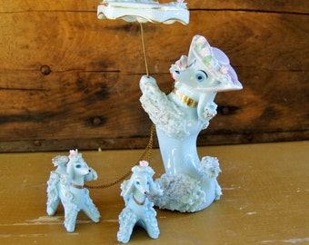 Blue Porcelain Spaghetti Poodle Mother with Pups and Parasol