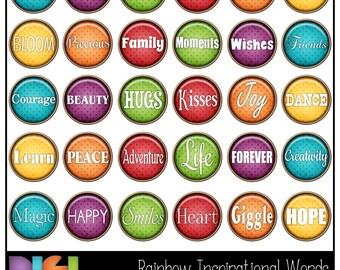 50% OFF Rainbow Inspirational Words ~30 Digital Brads, Scrapbooking, Card making, Inspirational Words Embellishments. Instant Download.