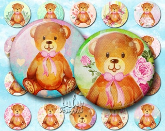 Teddy bear digital collage sheet; watercolor teddy bear circle images, 1 inch circle images, bottle cap images, printable sheet, magnets