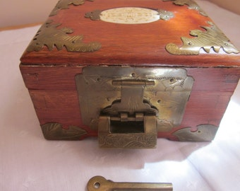 Intricate Vintage Wooden Jewelry Box with Brass Fittings and Working Chinese Lock. Bats!