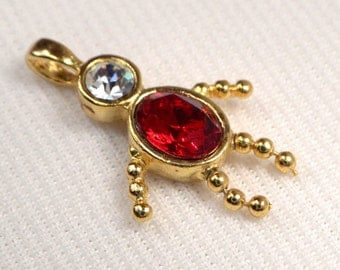 Vintage Ruby Crystal Gold Charm, Red Crystal July Birthstone Child Charm, Charm For Jewelry Making, Add On Charm Supplies, Destash (C162)