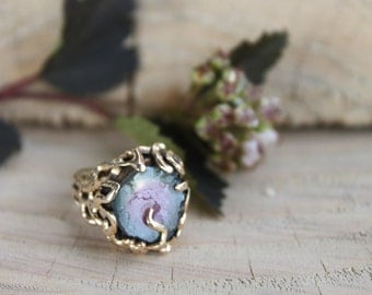 Vintage 14k ring / gift for her / Gold ring with stone / Amethyst stone ring size 4.5