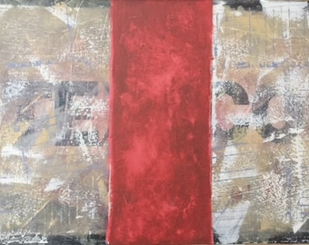 """Red on Abstract"""" Original Painting, Modern Art Large  Canvas 48 x 30"""