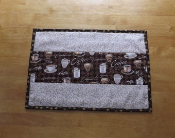 Sale - Handmade Quilted Patchwork Placemat with Coffee Print Fabric, Unique and Fun, Table Topper