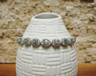Blue Zircon and pave CZ bracelet in Sterling Silver, length 7 1/2 inches