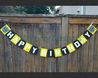 BUMBLEBEE TRANSFORMERS Banner - Optimus Prime, Decepticon, Autobot, Bumblebee Happy Birthday, Name banner, Its A Boy