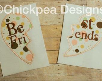 Embroidery Design: Best Friends Broken Heart Appliqué Instant Download