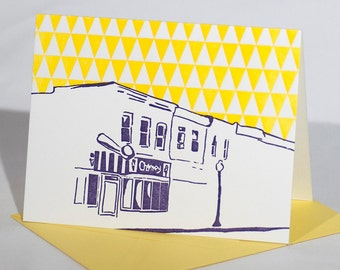 Baltimore Letterpress Card | The Charmery | purple & yellow single blank card with envelope
