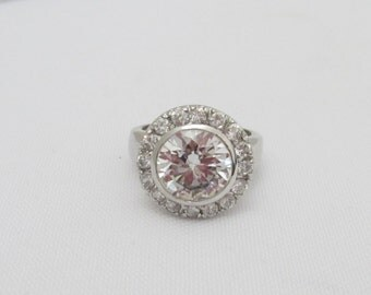 Vintage Sterling Silver White Topaz Halo Ring Size 6
