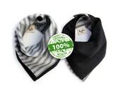 organic bandana bib   100% cotton muslin   gray stripe & black   all-in-one reversible bandana bib + reusable wipe cloth + hand towel