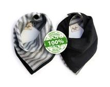 Organic Bandana Bib - 100% Organic Cotton Muslin - Reversible Gray Stripes & Black - One Size - Adjustable Snaps - Luxuriously Soft Baby Bib