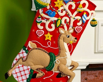 "Bucilla Ornamental Reindeer ~ 18"" Felt Christmas Stocking Kit #86652 DIY"
