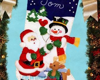 "Bucilla Santa & Snowman ~ 18"" Felt Christmas Stocking Kit #82904, Frosty Rudolph DIY"