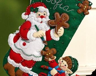 "Bucilla Gingerbread Santa ~ 16"" Felt Christmas Stocking Kit #86442, Cookies, Elf DIY"