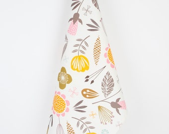 Printed tea towel woodland floral design