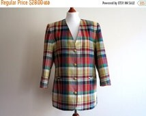 ON SALE Vintage 1980s Multicolor Plaid Summer Jacket Red Green Yellow Checkered Linen Blend Blazer Sweet 80s Size Medium