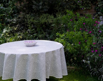 Block printed TABLECLOTH ROUND Taupe grey and off white fine paisley pattern