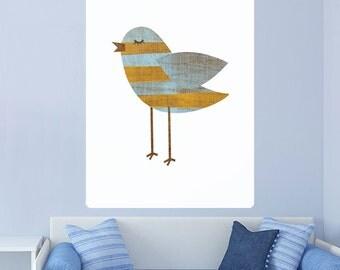 Yellow Bluestripe Bird Rustic Wall Decal - #62987