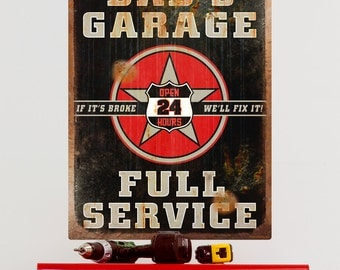 Dads Garage Rusted Rectangular Wall Decal - #57829