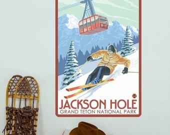 Jackson Hole Wyoming Skiing Wall Decal - #60809