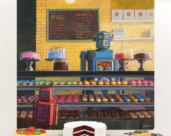 Robot Donut Shop Indecision Wall Decal - #59556