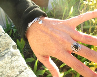 Ornate Black Onyx and Sterling Silver Ring Size 8.5