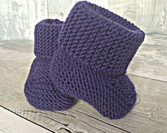 Knitted Baby Booties, Stay on Booties, Baby Boots, Baby Shower Gift Ideas, Gender Neutral Baby Bootees, Unique Baby Gift, Baby Shower Ideas