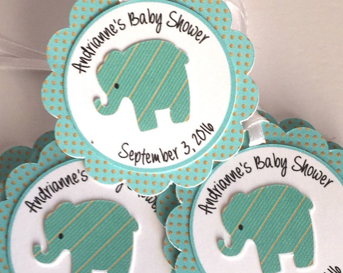 12 Turquoise and Gold with Baby Elephant. personalized Favor Tags, Baby Showers, New Arrival or First Birhday Parties