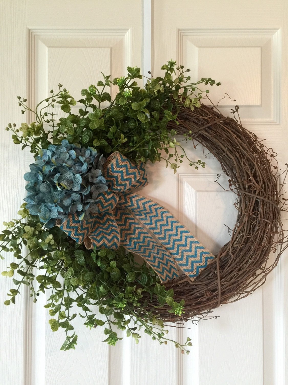hydrangea flower wreath grapevine wreath summer wreath year