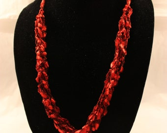 red necklace, Crocheted necklace, adjustable length necklace, trellis necklace, ladder yarn, mothers day, jewelry, Christmas, Valentines Day