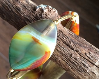 Bourbon and Bowtie Inspired Multi- Neutral Colored Agate Wire Wrapped Bangle