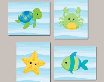 Boy Nursery Art, Sea Life, Sea Animlas, Under The Sea Nursery Decor Boy