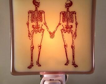 Skeletons Holding Hands Night Light Fused Glass