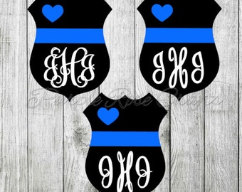 Police Love Thin Blue Line Monogram Initials Decal - Sticker - Car Window - Tumbler - Cup - Tablet - Computer - Laptop - Cling - Wife - LEO