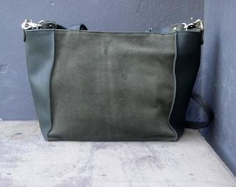 Leather shoulder bag in khaki / satchel bag / messenger bag / handbag