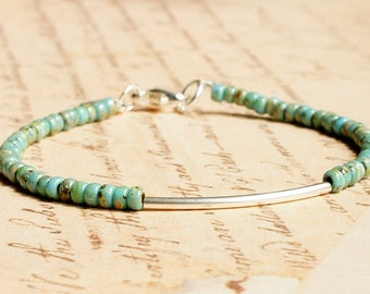 Silver And Turquoise Bracelet, Seed Bead Bracelet, Stacking Bracelet, Simple Bracelet, Beaded Bracelet, Minimalist Bracelet, Dainty Bracelet