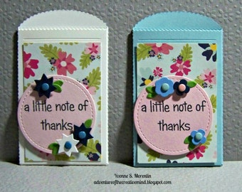 A Little Note Of Thanks...  Set Of 2... Gift Card Holders...