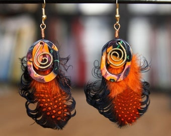 Oval Earrings, Black and Orange Feathers