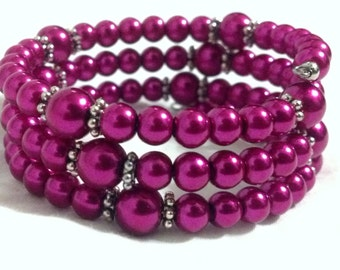 Dainty Fuchsia Pearl Bracelet with Silver Accents | Charming Summer Fashion | Wire Wrap Bracelet | Women's Coil Cuff | Dark Pink Pearls