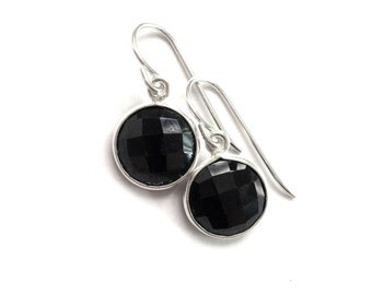 Black Onyx Earrings, Black Onyx Sterling Earrings, Classic Black Bridesmaid Formal Earring
