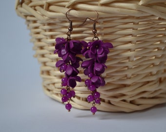 Floral earrings Color Earrings fuchsia Dangle  Long earrings crystal  romantic earrings gift for her Wedding earrings  floral