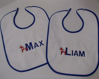 Embroidered Baby Bib with Custom Name and Dala Horse