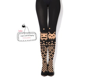 Pixel Invaders - black hand printed tights