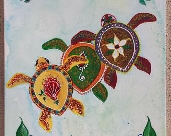 Paisley Sea Turtles  - Prints from Original Artwork