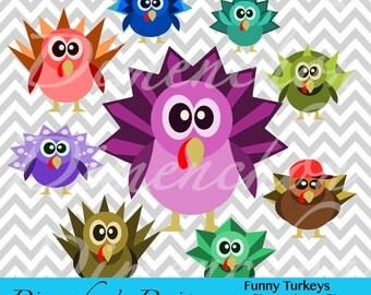 Funny Turkeys (Clipart)
