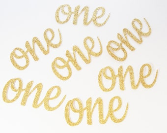 Glitter Gold Number Cutouts, First Birthday Confetti, Choice of Number Word, 1, 2,  Party Decoration, Shipping in 2-3 Business Days, 20 CT.